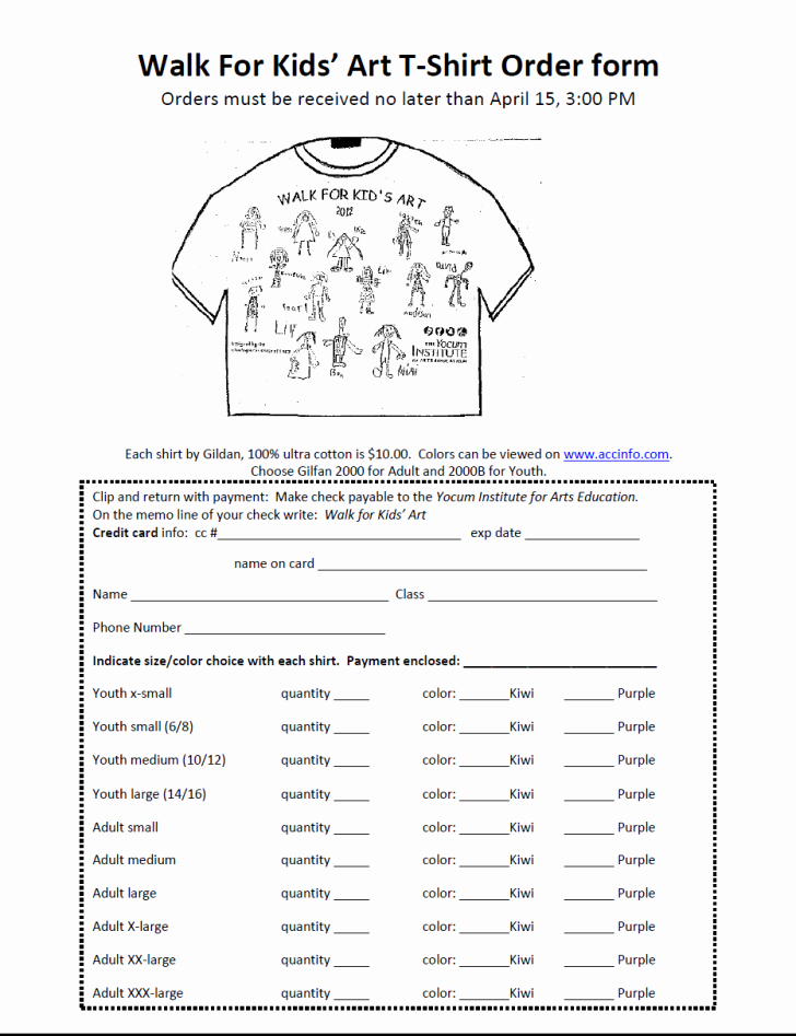 Shirt order forms Template Awesome form T Shirt order form