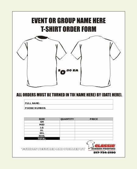 Shirt order forms Template Beautiful T Shirt order form Template