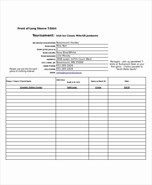 Shirt order forms Template Fresh Excel order form Template 19 Free Excel Documents