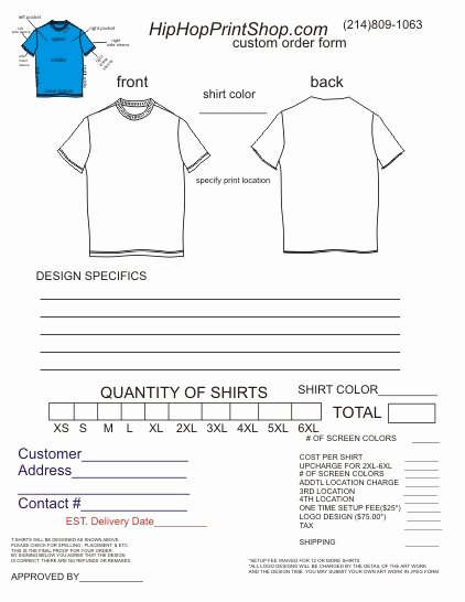 Shirt order forms Template Lovely T Shirt order form Template