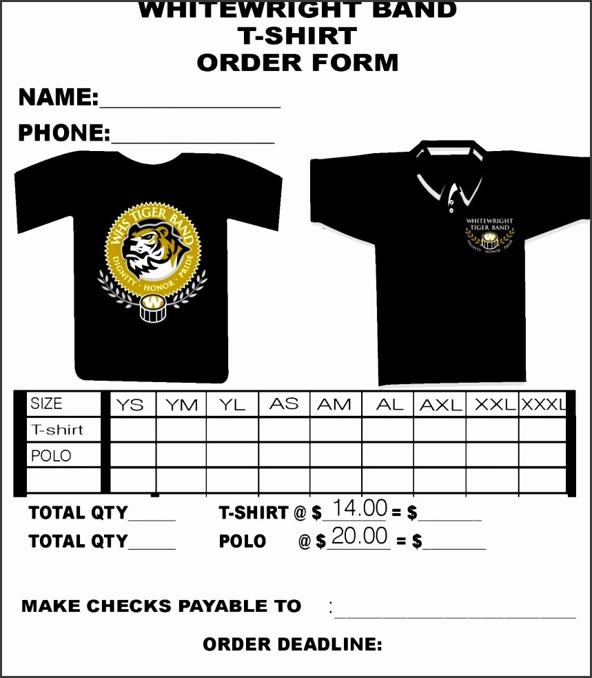 Shirt order forms Template Unique 10 Free T Shirt order form Template Word