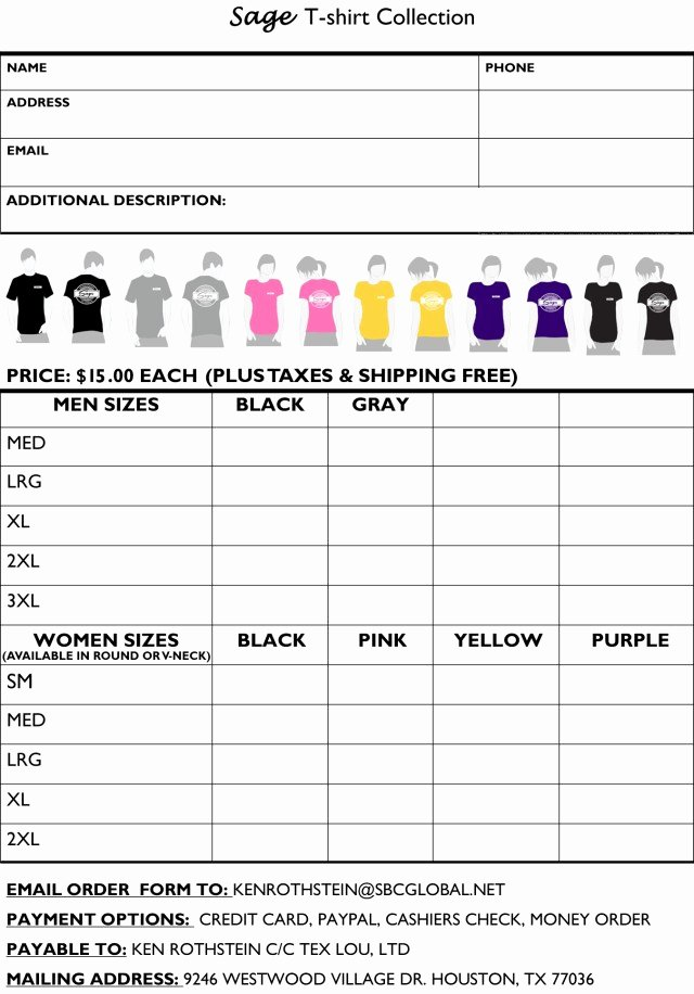 Shirt order forms Template Unique Printable T Shirt order forms Templates Excel Template