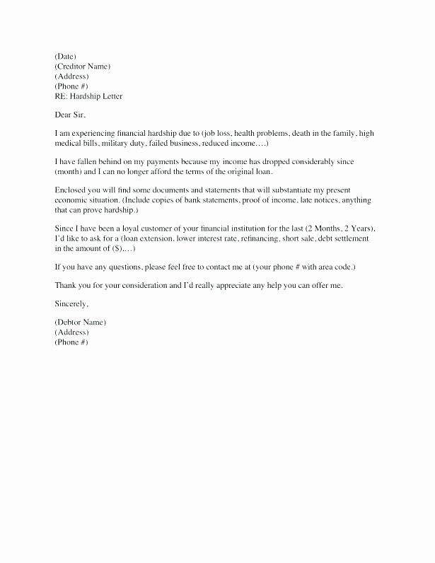Short Sale Hardship Letter Template Best Of Financial Hardship Letter Template Medical Templates for