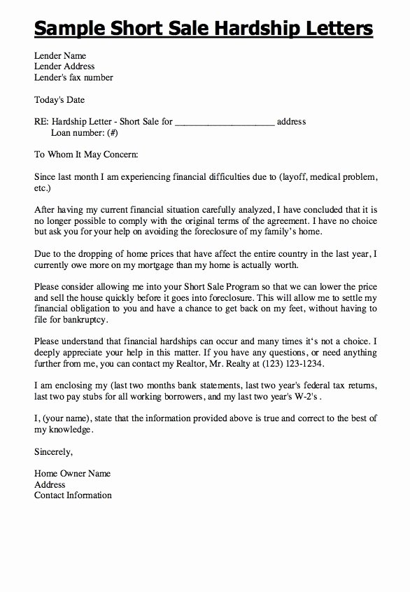Short Sale Hardship Letter Template Best Of Hardship Letter for Short Sale 2018