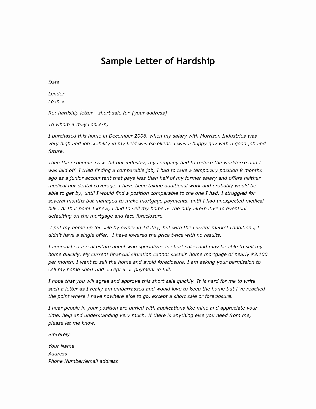 Short Sale Hardship Letter Template Elegant Best S Of Short Sale Letter Example Short Sale