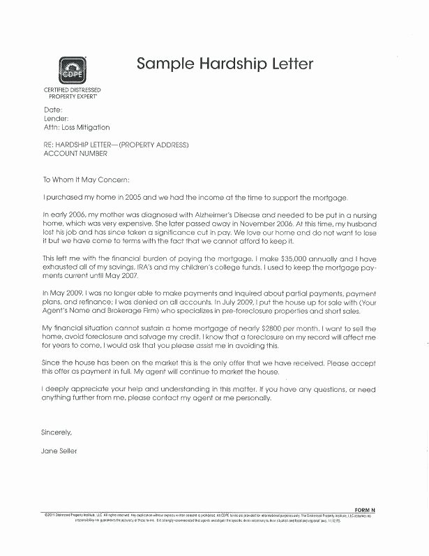 Short Sale Hardship Letter Template Fresh Short Sale Hardship Letter Template for Resume Free