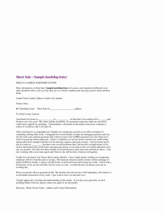 Short Sale Hardship Letter Template Fresh the Most Elegant Along with Lovely Sample Hardship Letter