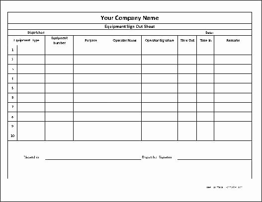 Sign In Out Sheet Template Beautiful Login and Sign Out Sheet Template Equipment Checkout form
