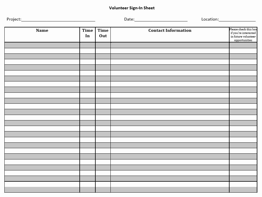 Sign In Out Sheet Template Best Of 10 Free Sample Volunteer Sign In Sheet Templates