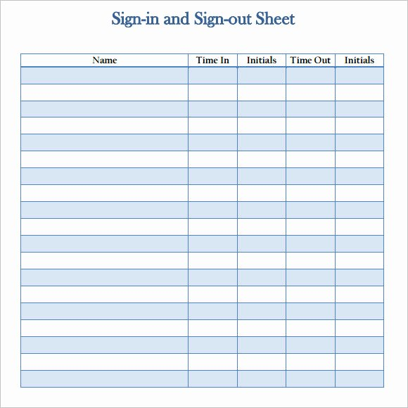 Sign In Out Sheet Template Best Of 12 Sign Out Sheet Templates – Free Samples Examples