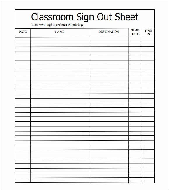 Sign In Out Sheet Template Fresh 13 Sign Out Sheet Templates – Pdf Word Excel