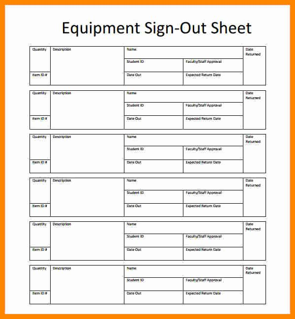 Sign In Out Sheet Template Lovely Equipment Sign Out Sheet Template Beautiful Template