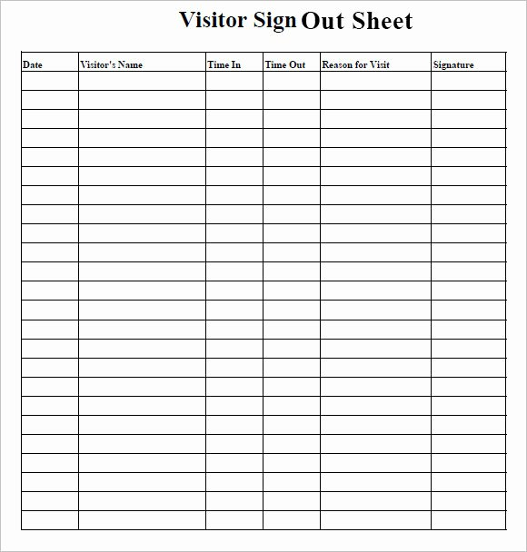 Sign In Out Sheet Template Lovely Sign Out Sheet Template – 9 Free Samples Examples format