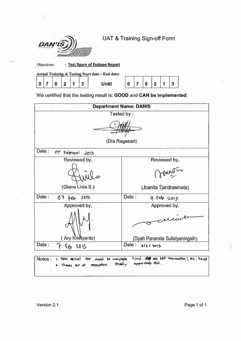 Sign In Sheet Template Doc Elegant Uat & Training Sign Off form