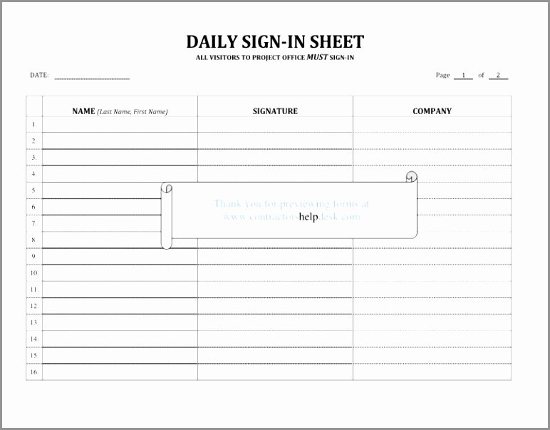 Sign In Sheet Template Doc Unique 6 Work Sign In and Out Sheet Template Irura