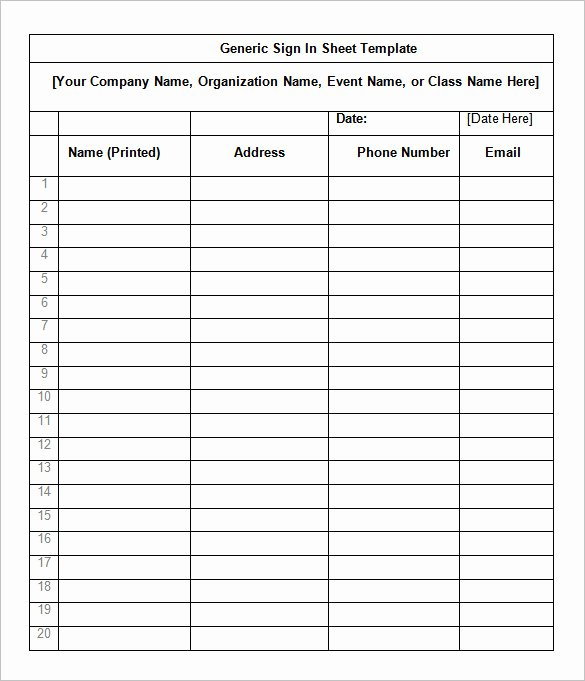 Sign Up form Template Word Elegant 75 Sign In Sheet Templates Doc Pdf
