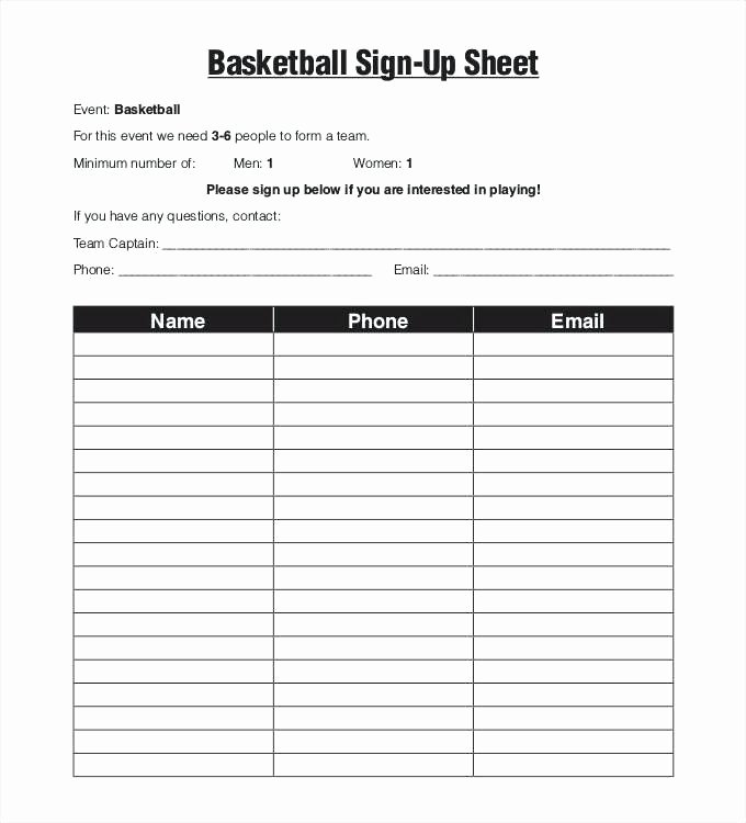 Sign Up form Template Word New Editable Printable Sign Up Sheet Template Free