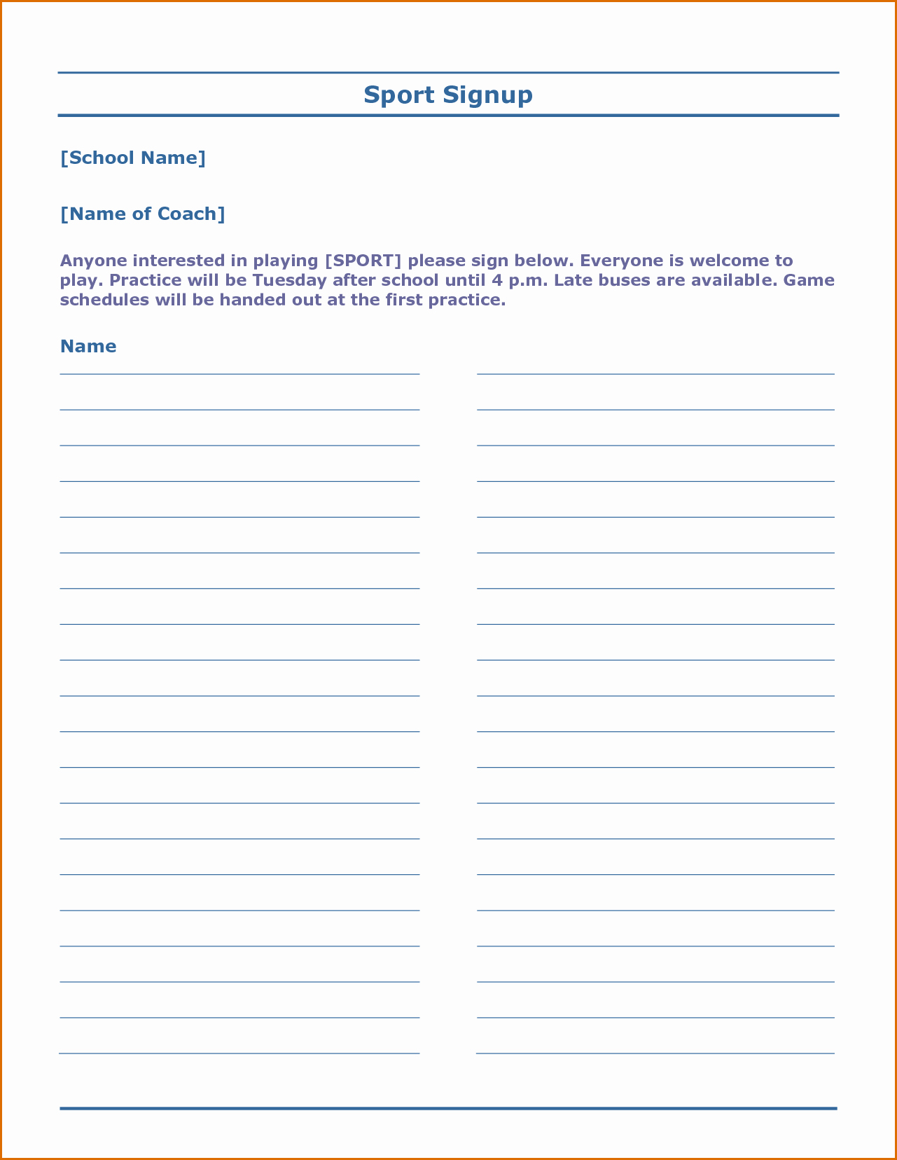 Sign Up form Template Word Unique 7 Sign Up Sheet Template Word