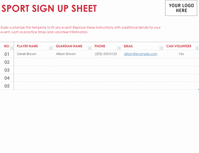 Sign Up Page Template Luxury Sport Sign Up Sheet