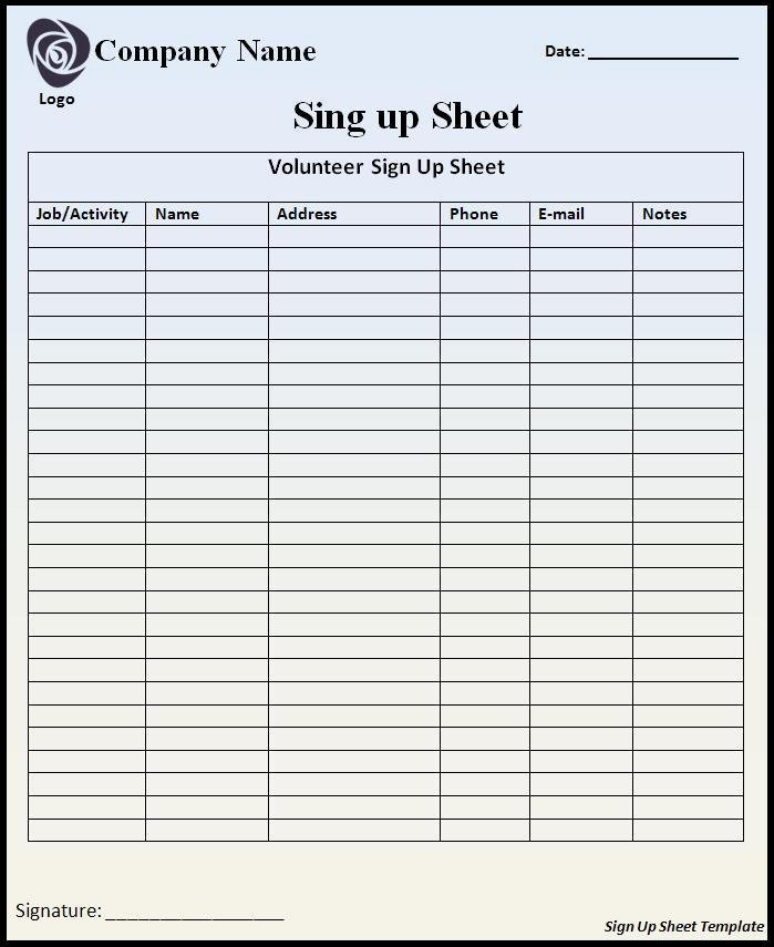 Sign Up Sheet Template Free Awesome Sign Up Sheet Template