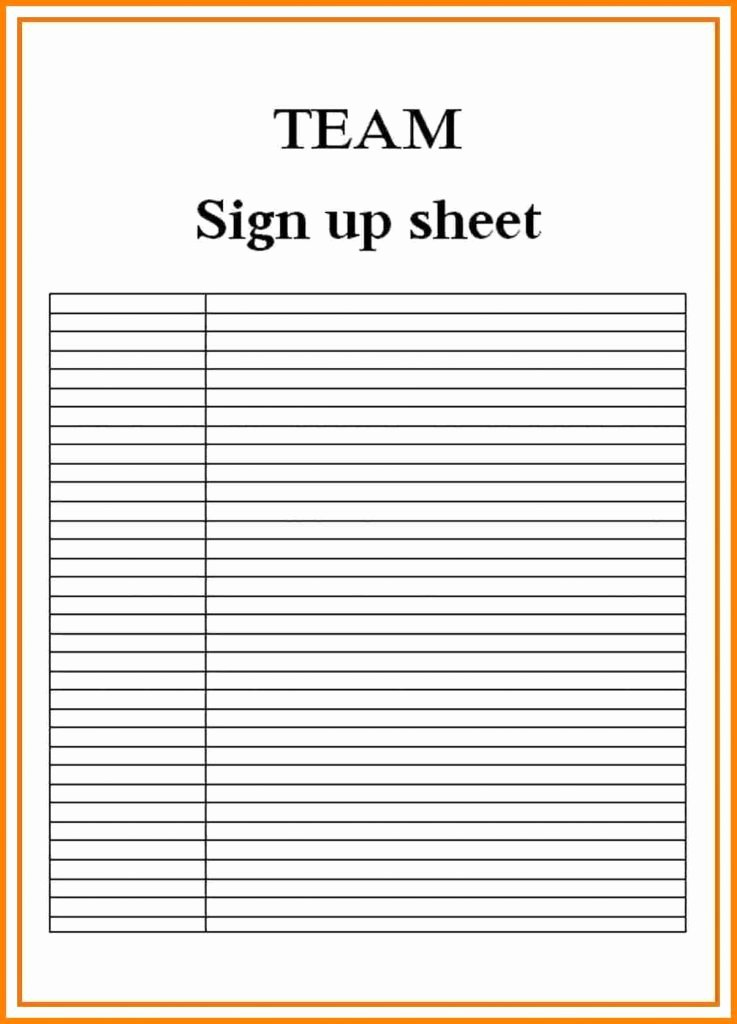 Sign Up Sheet Template Free Beautiful Sign Up Sheets Resume Trakore Document Templates