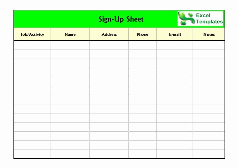 Sign Up Sheet Template Free Lovely 40 Sign Up Sheet Sign In Sheet Templates Word & Excel