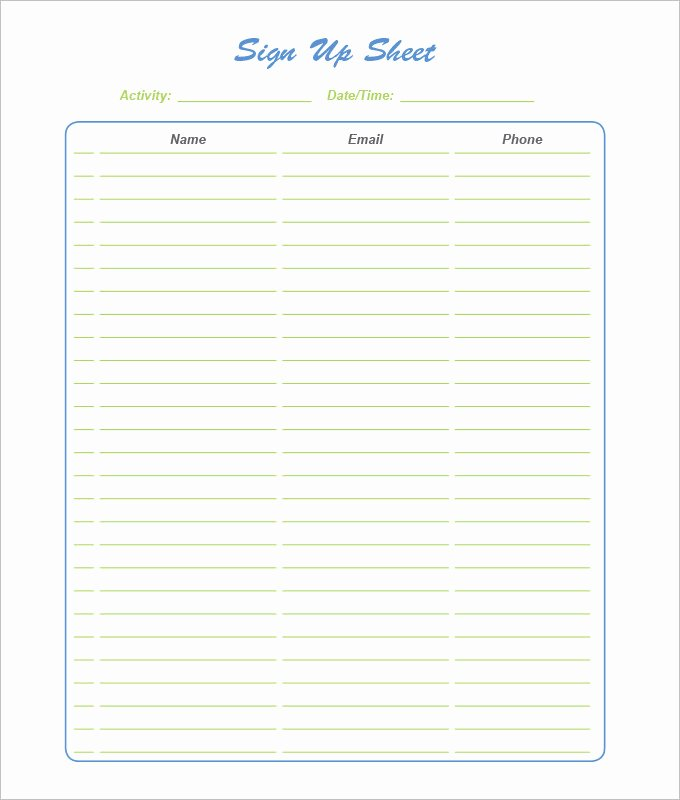 Sign Up Sheet Template Free New Sign Up Sheets 58 Free Word Excel Pdf Documents