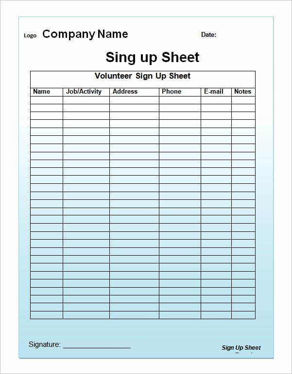 Sign Up Sheets Template Awesome 23 Sample Sign Up Sheet Templates – Pdf Word Pages