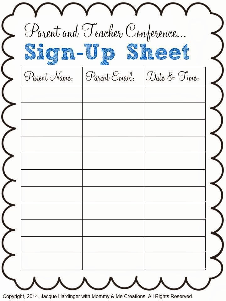 Sign Up Sheets Template Inspirational A Class Y Collaboration Parent and Teacher Conference Freebie