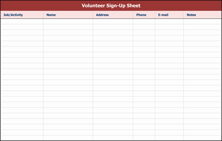 Sign Up Sheets Template Unique 26 Free Sign Up Sheet Templates Excel & Word