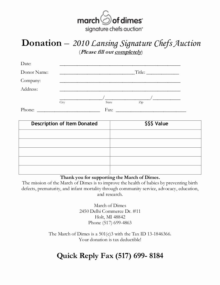 Silent Auction Donation Letter Template Awesome Chef S Auction Donation form