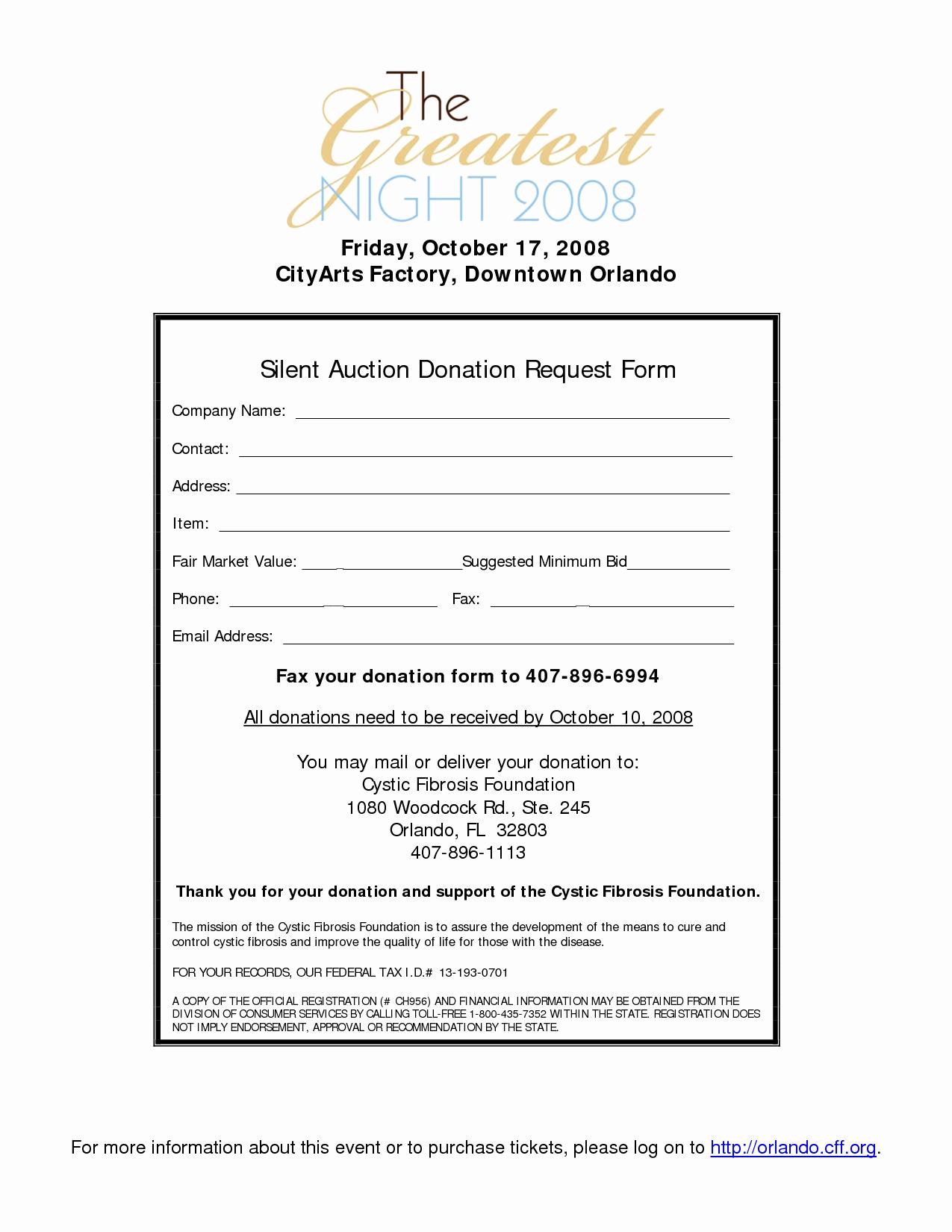Silent Auction Donation Letter Template Beautiful Silent Auction Donation form Template