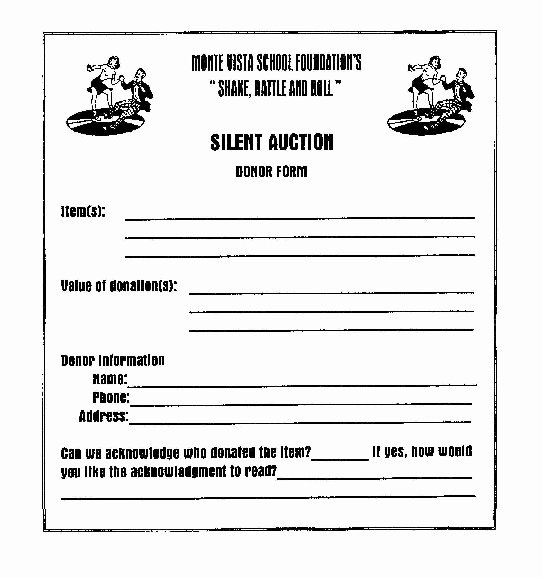 Silent Auction Donation Letter Template Fresh Auction Donor form