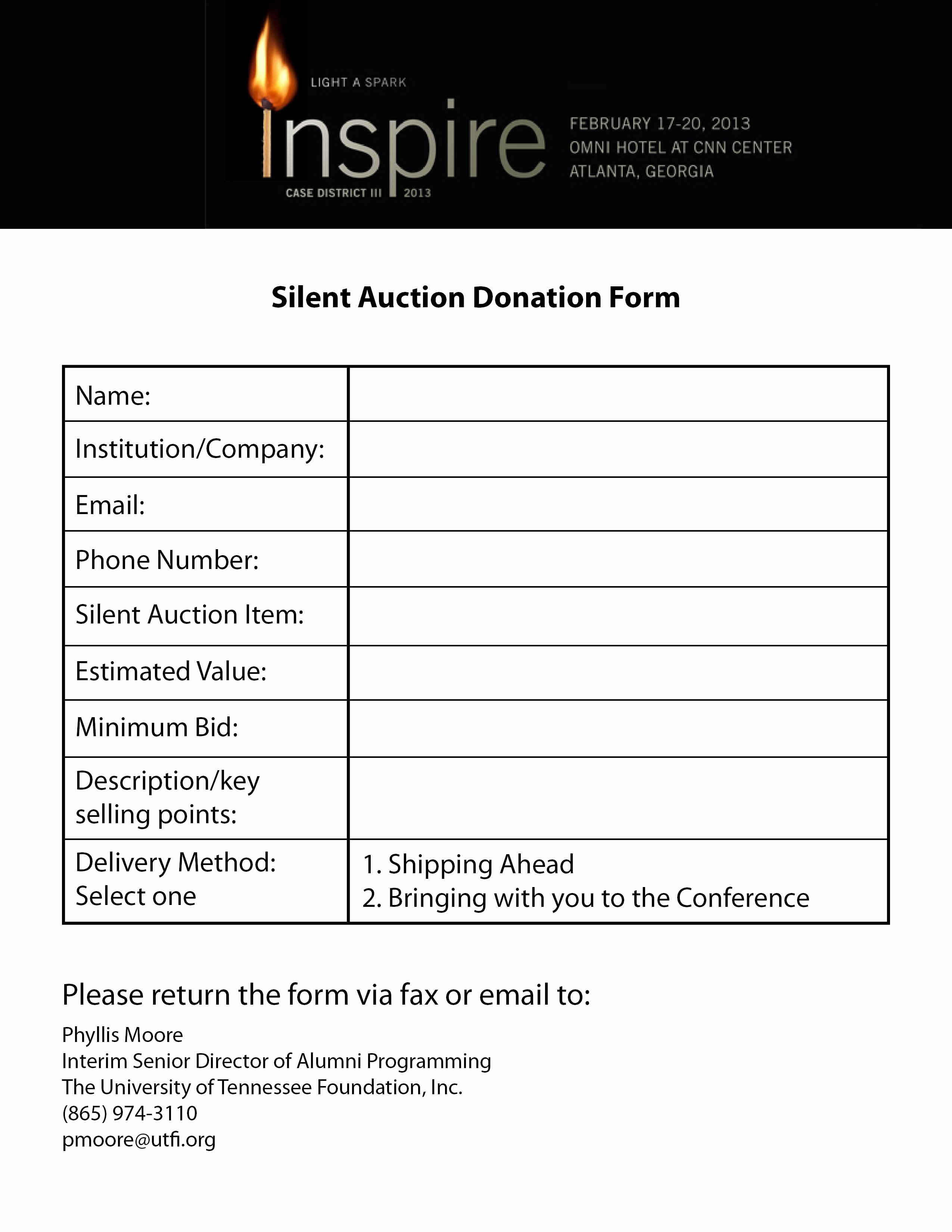 Silent Auction Donation Letter Template Fresh Case Silent Auction Donation forms