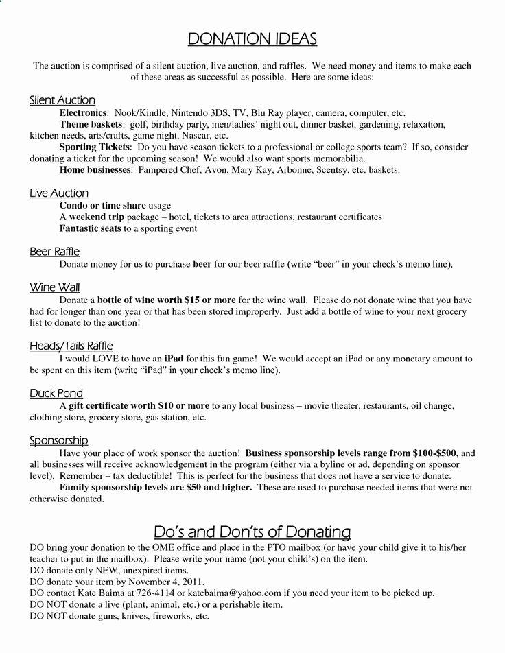 Silent Auction Donation Letter Template Inspirational Silent Auction Ideas Donation Ideas