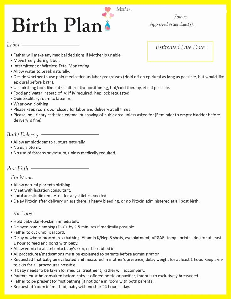 Simple Birth Plan Template Best Of Birth Plan Going to Make some Edits but This is A Good
