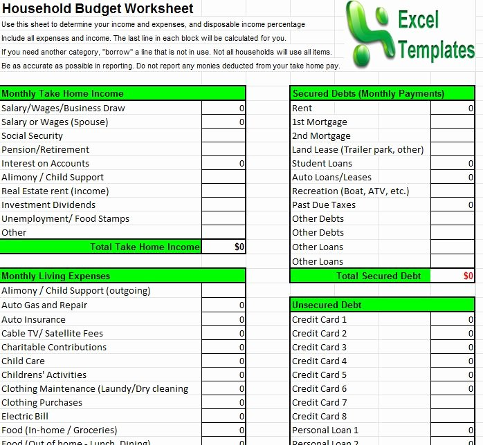 Simple Budget Template Excel Fresh Household Bud Template
