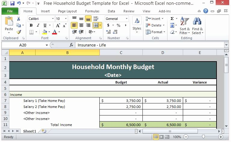 Simple Budget Template Excel New Free Household Bud Template for Excel