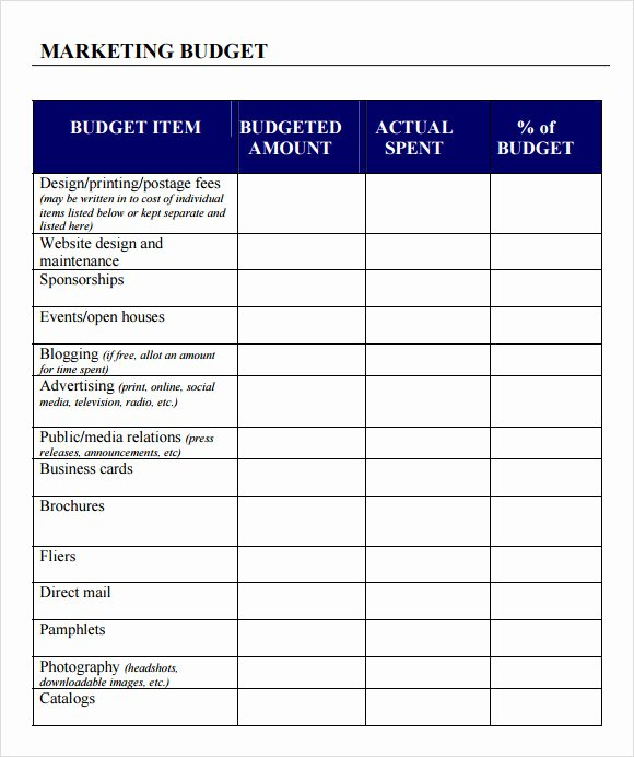 Simple Business Budget Template Elegant 6 Sample Marketing Bud Templates to Download