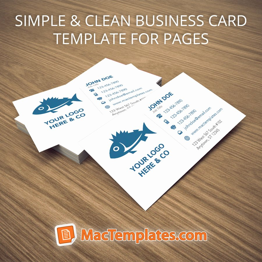 Simple Business Card Template Elegant Business Card Template for Pages Business Card Design