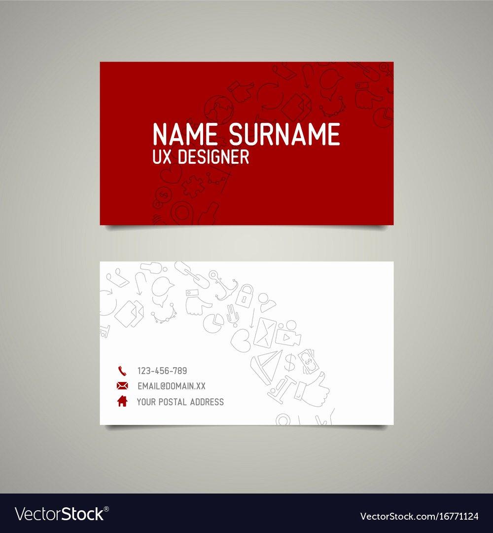 Simple Business Card Template Fresh Modern Simple Business Card Template for Ux Vector Image