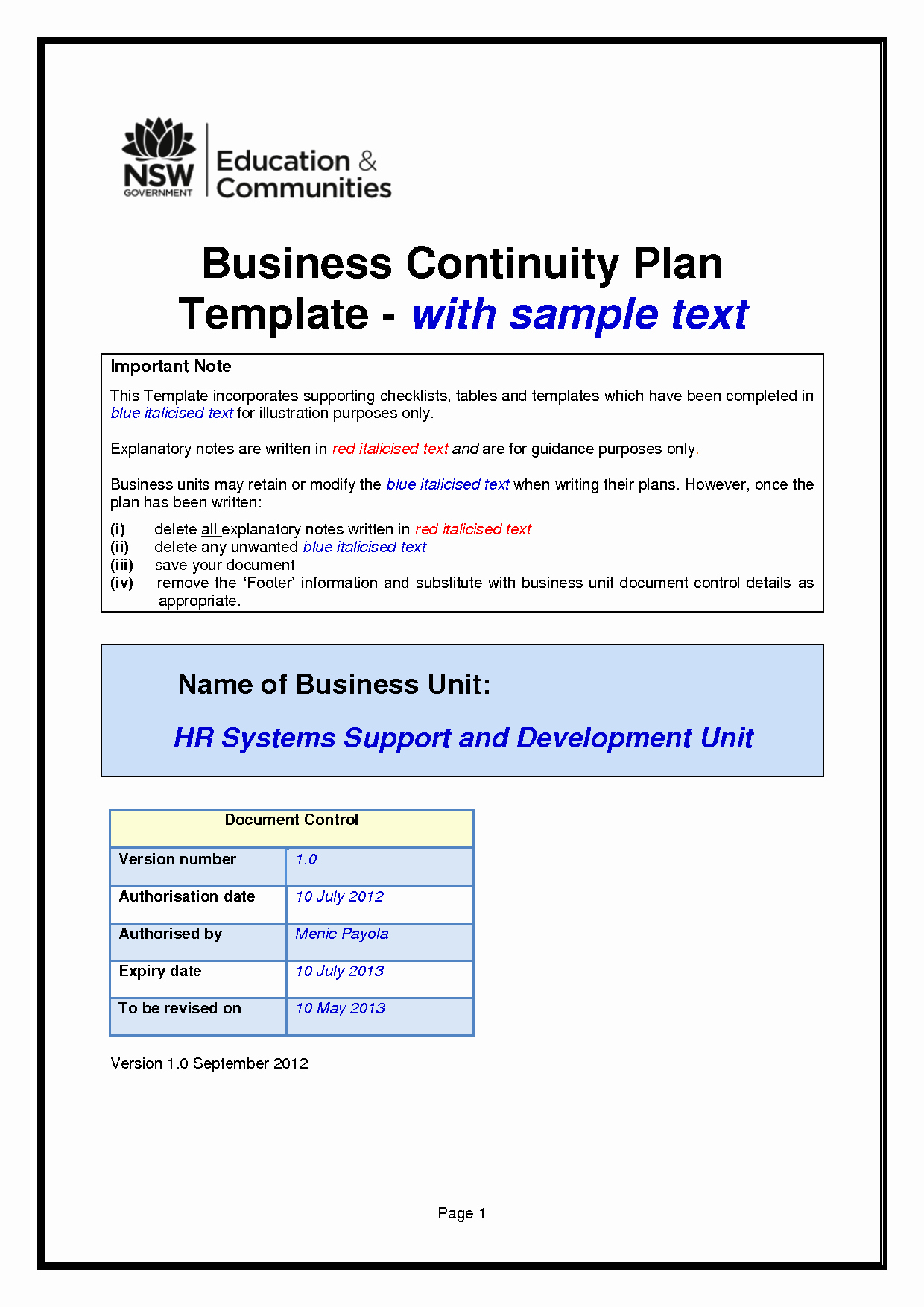 Simple Business Continuity Plan Template Best Of Business Continuity Plan Template