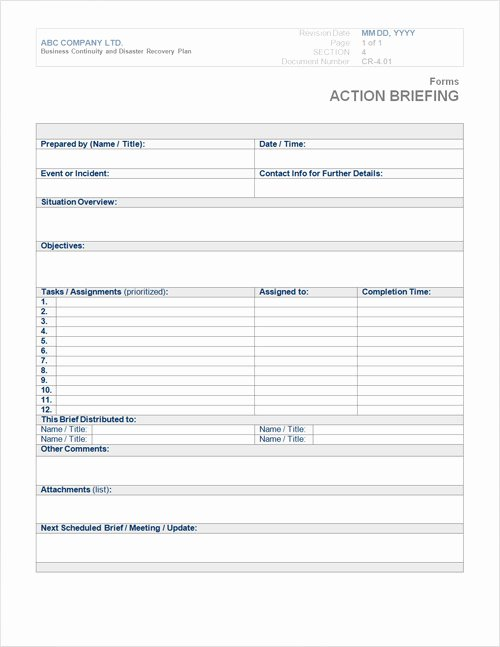 Simple Business Continuity Plan Template Elegant Business Continuity Plan Template form