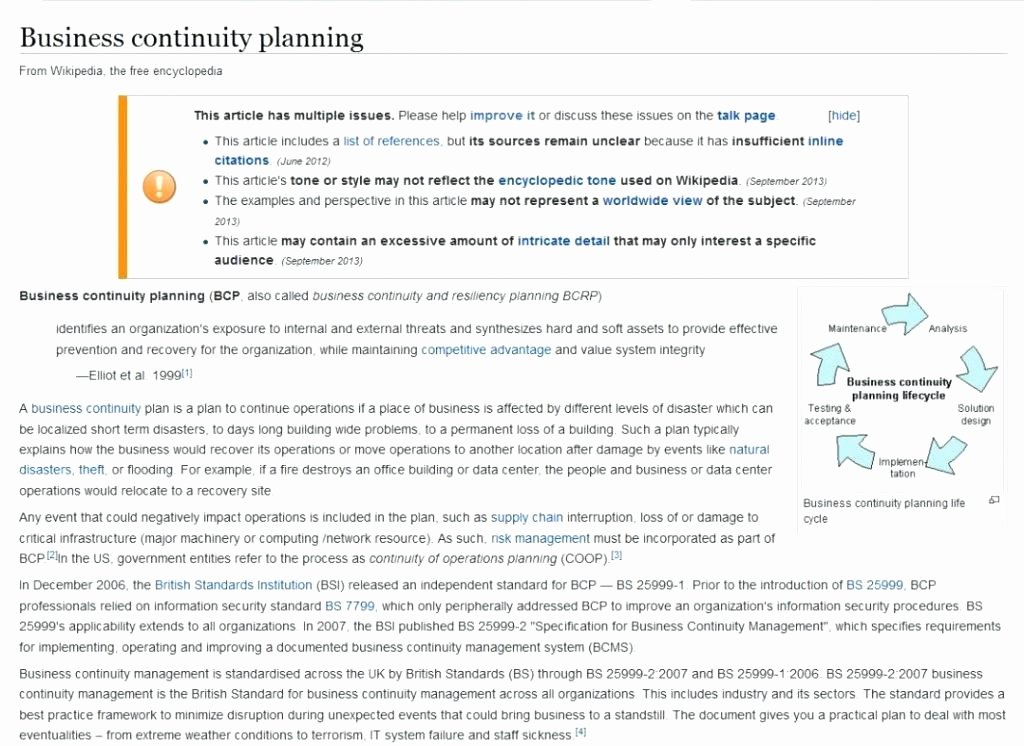 Simple Business Continuity Plan Template Elegant Disaster Recovery Plan Template for Small Business