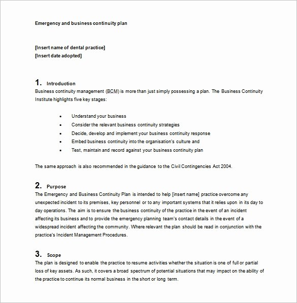 Simple Business Continuity Plan Template Fresh Business Continuity Plan Template 11 Download Free Word