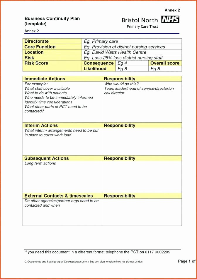 Simple Business Continuity Plan Template Fresh Simple Contingency Plan Template – Flybymedia