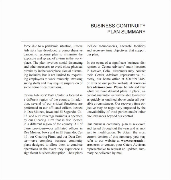 Simple Business Continuity Plan Template Luxury 8 Continuity Plan Templates