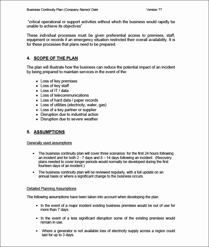 Simple Business Continuity Plan Template Unique Business Continuity Plan Template 9 Free Word Pdf