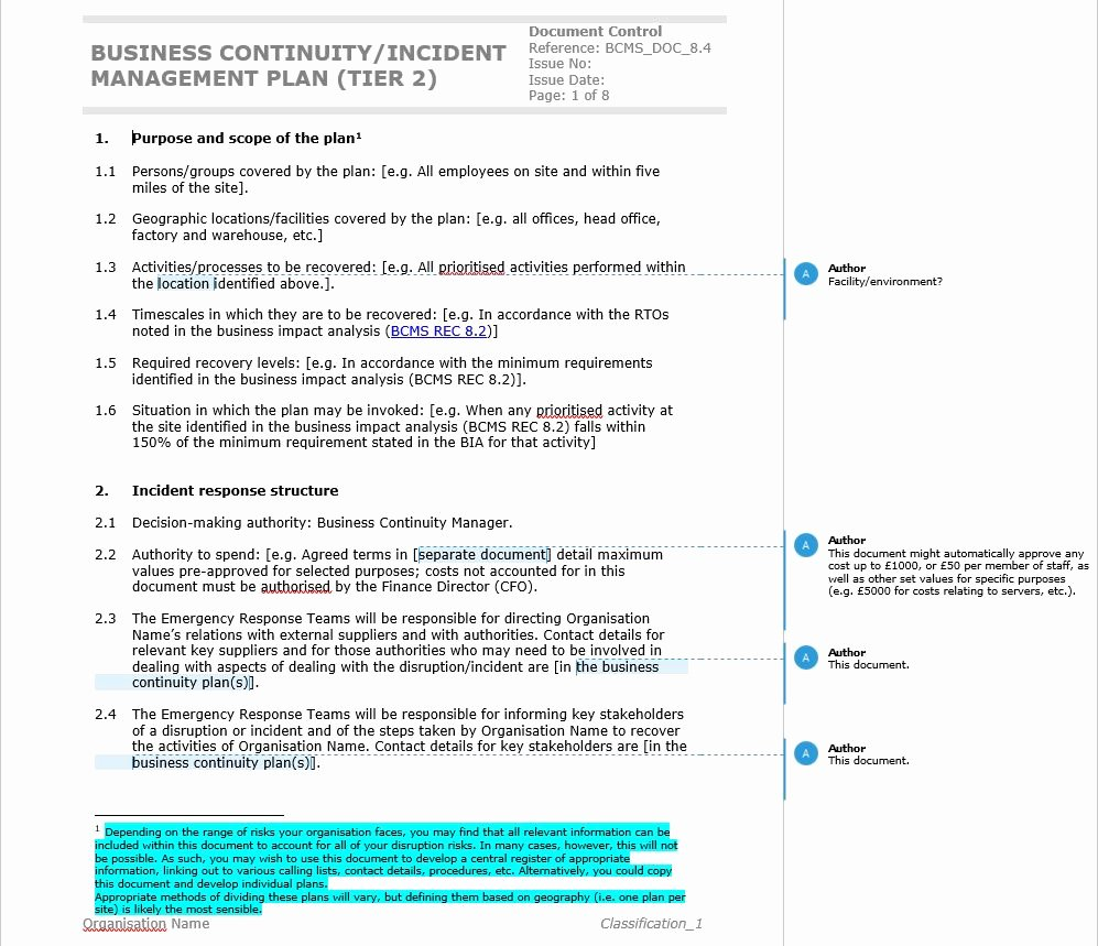 Simple Business Continuity Plan Template Unique How to Write An iso Pliant Business Continuity