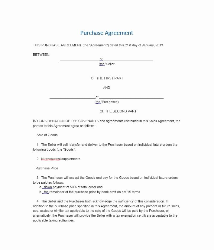 Simple Business Contract Template Best Of 37 Simple Purchase Agreement Templates [real Estate Business]